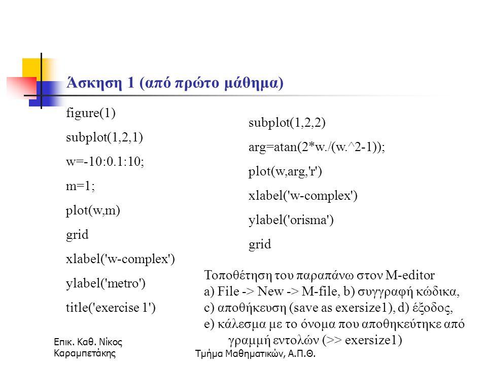 Επικ. Καθ. Νίκος ΚαραμπετάκηςΤμήμα Μαθηματικών, Α.Π.Θ. Πολυώνυμα (΄περίληψη συναρτήσεων)