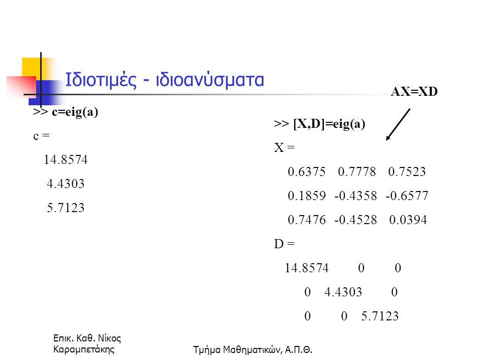 Επικ. Καθ. Νίκος ΚαραμπετάκηςΤμήμα Μαθηματικών, Α.Π.Θ. Ιδιοτιμές - ιδιοανύσματα >> c=eig(a) c = 14.8574 4.4303 5.7123 >> [X,D]=eig(a) X = 0.6375 0.777