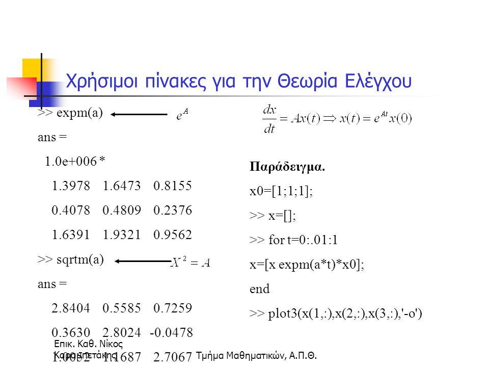 Επικ. Καθ. Νίκος ΚαραμπετάκηςΤμήμα Μαθηματικών, Α.Π.Θ. Χρήσιμοι πίνακες για την Θεωρία Ελέγχου >> expm(a) ans = 1.0e+006 * 1.3978 1.6473 0.8155 0.4078