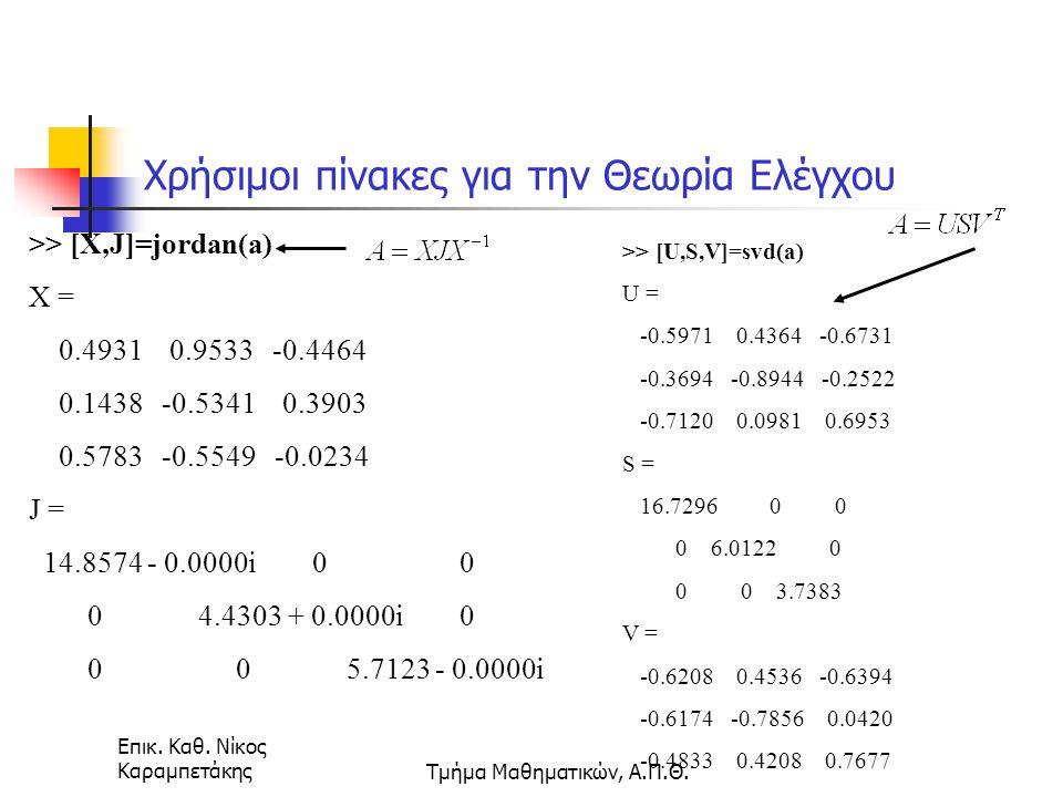 Επικ. Καθ. Νίκος ΚαραμπετάκηςΤμήμα Μαθηματικών, Α.Π.Θ. Χρήσιμοι πίνακες για την Θεωρία Ελέγχου >> [X,J]=jordan(a) X = 0.4931 0.9533 -0.4464 0.1438 -0.