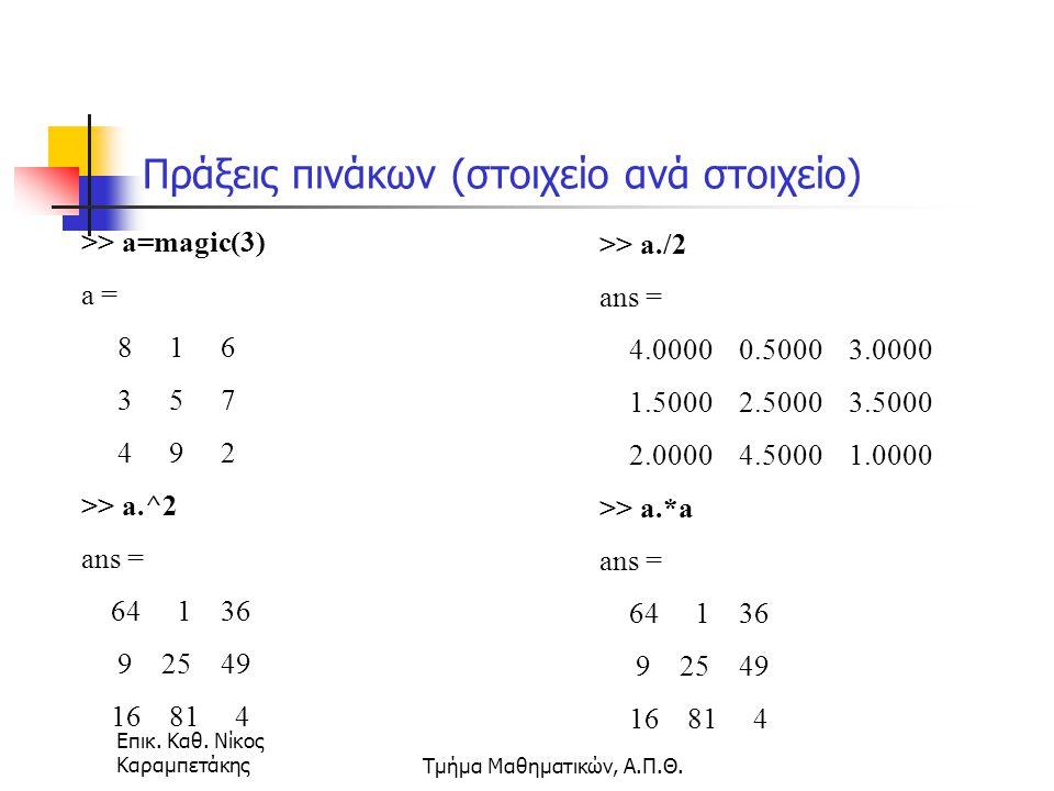 Επικ. Καθ. Νίκος ΚαραμπετάκηςΤμήμα Μαθηματικών, Α.Π.Θ. Πράξεις πινάκων (στοιχείο ανά στοιχείο) >> a=magic(3) a = 8 1 6 3 5 7 4 9 2 >> a.^2 ans = 64 1