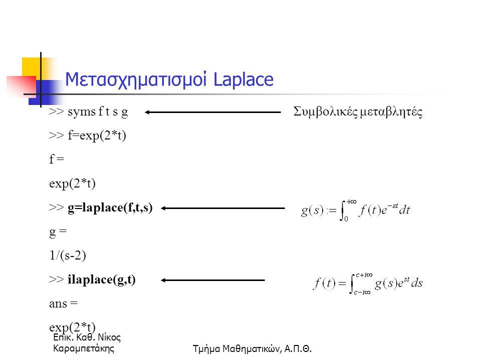Επικ. Καθ. Νίκος ΚαραμπετάκηςΤμήμα Μαθηματικών, Α.Π.Θ. Μετασχηματισμοί Laplace >> syms f t s g >> f=exp(2*t) f = exp(2*t) >> g=laplace(f,t,s) g = 1/(s