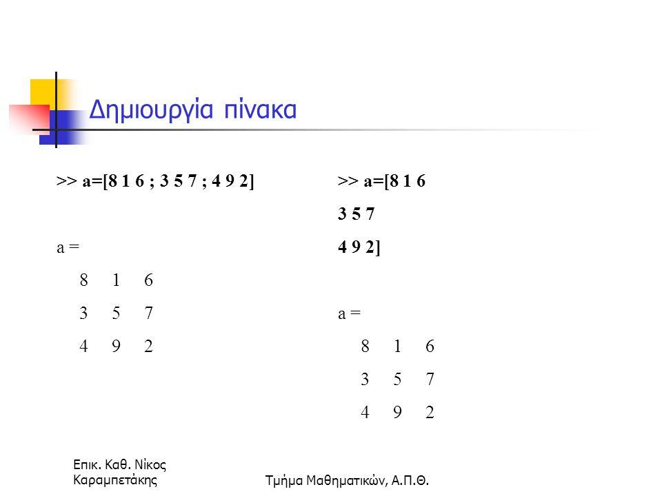 Επικ. Καθ. Νίκος ΚαραμπετάκηςΤμήμα Μαθηματικών, Α.Π.Θ. Δημιουργία πίνακα >> a=[8 1 6 ; 3 5 7 ; 4 9 2] a = 8 1 6 3 5 7 4 9 2 >> a=[8 1 6 3 5 7 4 9 2] a