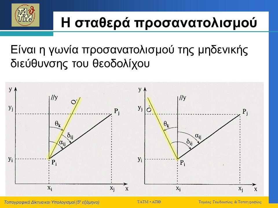 Τοπογραφικά Δίκτυα και Υπολογισμοί (5 ο εξάμηνο) ΤΑΤΜ  ΑΠΘ Τομέας Γεωδαισίας & Τοπογραφίας Η σταθερά προσανατολισμού Είναι η γωνία προσανατολισμού τη