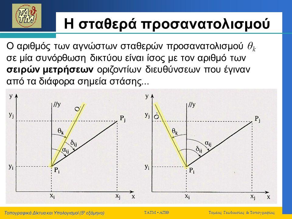 Τοπογραφικά Δίκτυα και Υπολογισμοί (5 ο εξάμηνο) ΤΑΤΜ  ΑΠΘ Τομέας Γεωδαισίας & Τοπογραφίας Η σταθερά προσανατολισμού Ο αριθμός των αγνώστων σταθερών