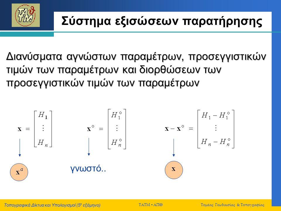 Τοπογραφικά Δίκτυα και Υπολογισμοί (5 ο εξάμηνο) ΤΑΤΜ  ΑΠΘ Τομέας Γεωδαισίας & Τοπογραφίας Σύστημα εξισώσεων παρατήρησης Διανύσματα αγνώστων παραμέτρ