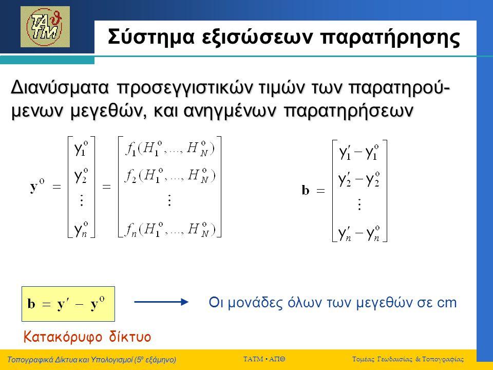 Τοπογραφικά Δίκτυα και Υπολογισμοί (5 ο εξάμηνο) ΤΑΤΜ  ΑΠΘ Τομέας Γεωδαισίας & Τοπογραφίας Σύστημα εξισώσεων παρατήρησης Διανύσματα προσεγγιστικών τι