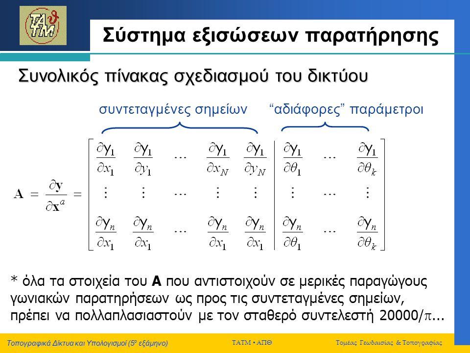 Τοπογραφικά Δίκτυα και Υπολογισμοί (5 ο εξάμηνο) ΤΑΤΜ  ΑΠΘ Τομέας Γεωδαισίας & Τοπογραφίας Σύστημα εξισώσεων παρατήρησης Συνολικός πίνακας σχεδιασμού