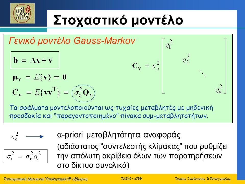Τοπογραφικά Δίκτυα και Υπολογισμοί (5 ο εξάμηνο) ΤΑΤΜ  ΑΠΘ Τομέας Γεωδαισίας & Τοπογραφίας Στοχαστικό μοντέλο α-priori μεταβλητότητα αναφοράς (αδιάστ
