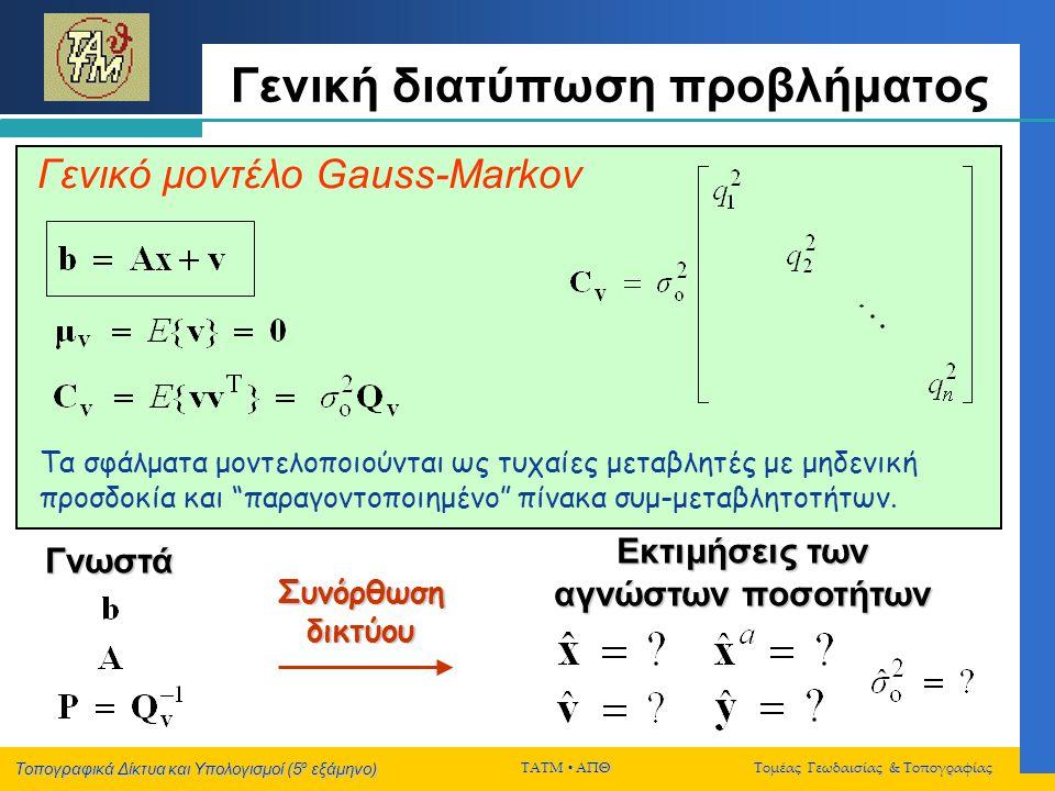 Τοπογραφικά Δίκτυα και Υπολογισμοί (5 ο εξάμηνο) ΤΑΤΜ  ΑΠΘ Τομέας Γεωδαισίας & Τοπογραφίας Γενική διατύπωση προβλήματος Γνωστά Γενικό μοντέλο Gauss-M