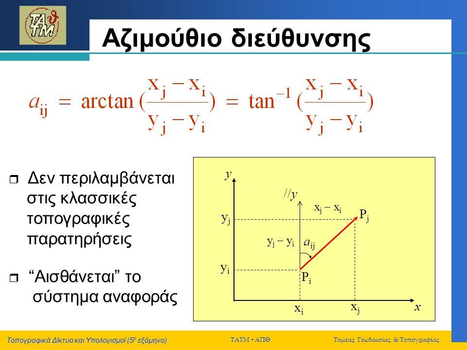 Τοπογραφικά Δίκτυα και Υπολογισμοί (5 ο εξάμηνο) ΤΑΤΜ  ΑΠΘ Τομέας Γεωδαισίας & Τοπογραφίας Αζιμούθιο διεύθυνσης PiPi PjPj y x //y a ij x j  x i xjx