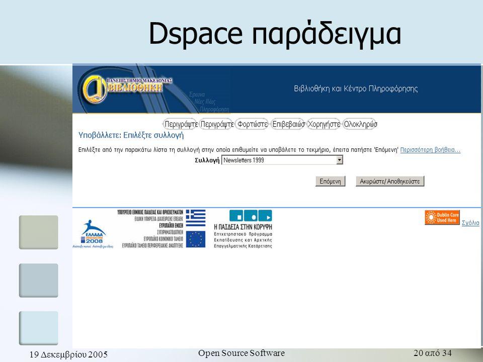 19 Δεκεμβρίου 2005 Open Source Software20 από 34 Dspace παράδειγμα