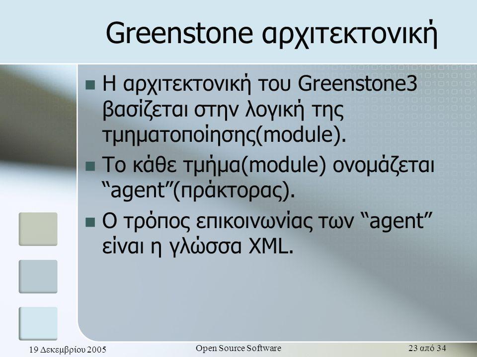 19 Δεκεμβρίου 2005 Open Source Software23 από 34 Greenstone αρχιτεκτονική Η αρχιτεκτονική του Greenstone3 βασίζεται στην λογική της τμηματοποίησης(mod