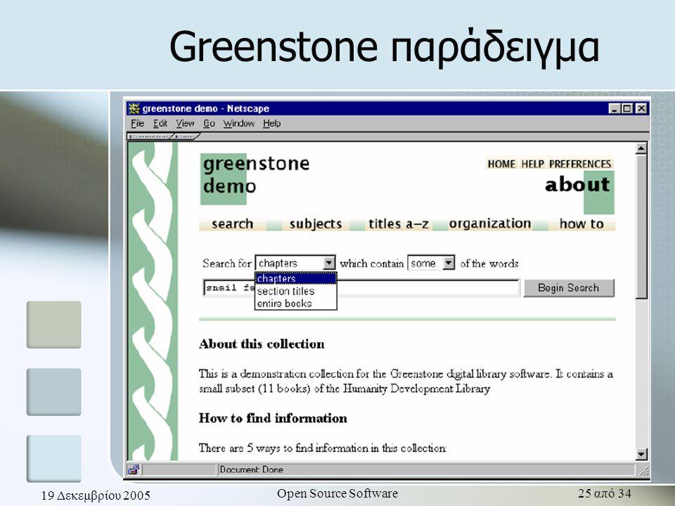 19 Δεκεμβρίου 2005 Open Source Software25 από 34 Greenstone παράδειγμα