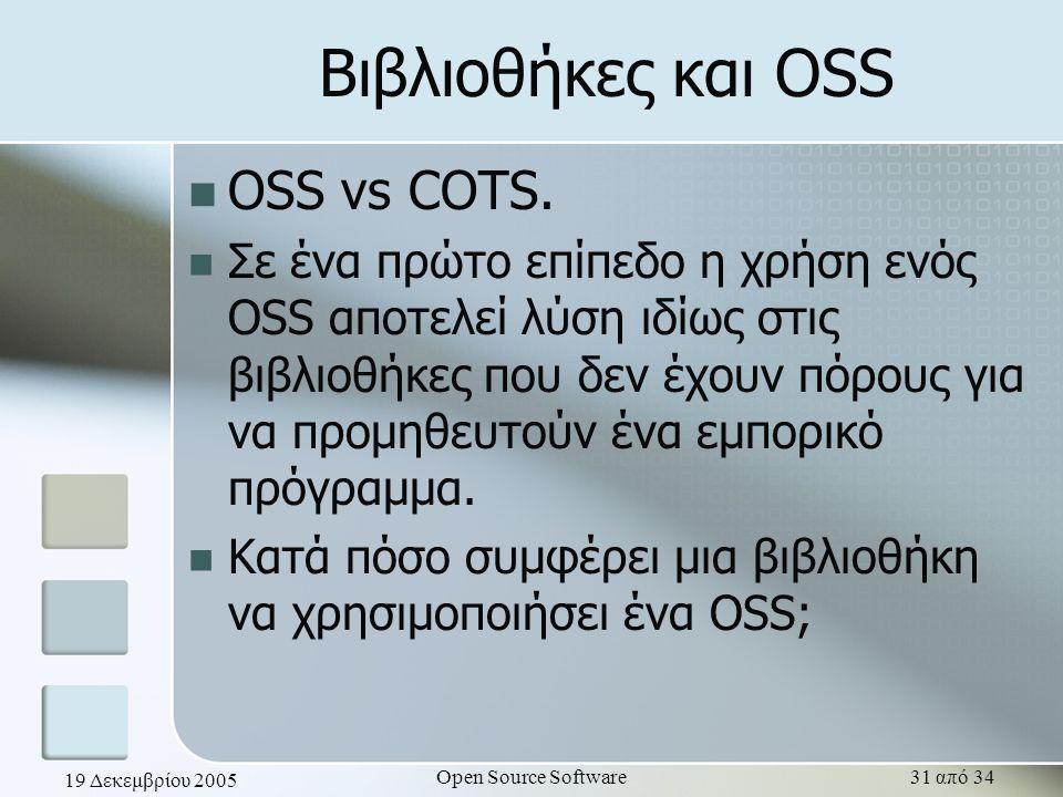 19 Δεκεμβρίου 2005 Open Source Software31 από 34 Βιβλιοθήκες και OSS OSS vs COTS. Σε ένα πρώτο επίπεδο η χρήση ενός OSS αποτελεί λύση ιδίως στις βιβλι