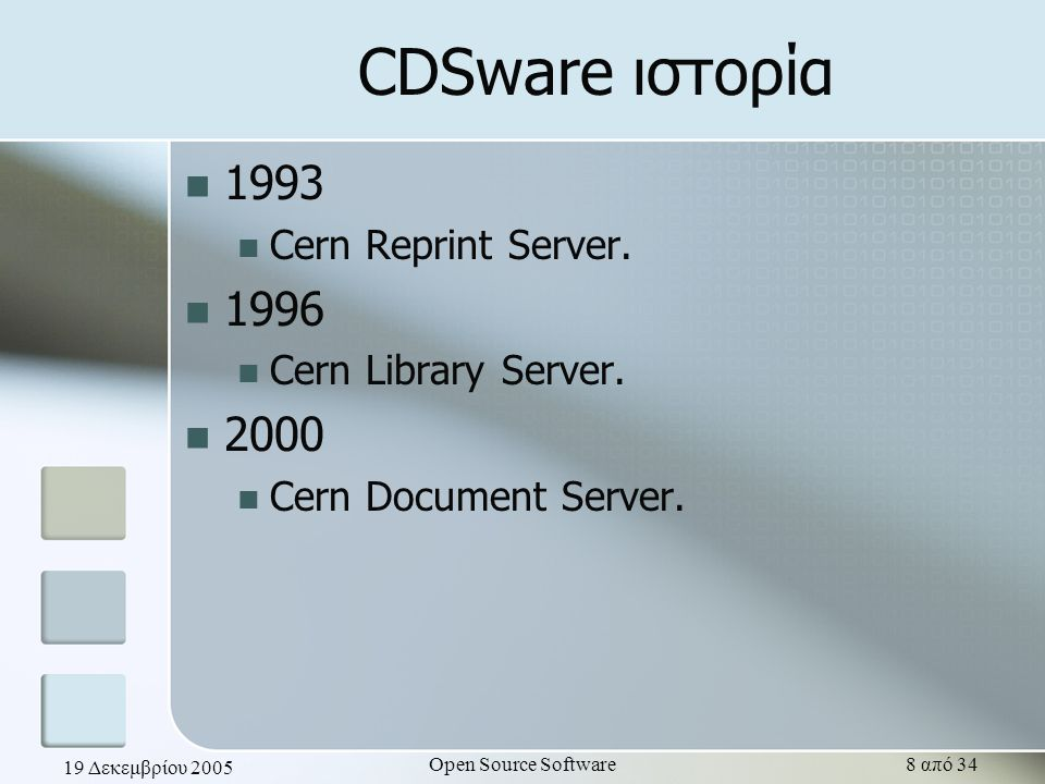 19 Δεκεμβρίου 2005 Open Source Software8 από 34 CDSware ιστορία 1993 Cern Reprint Server. 1996 Cern Library Server. 2000 Cern Document Server.