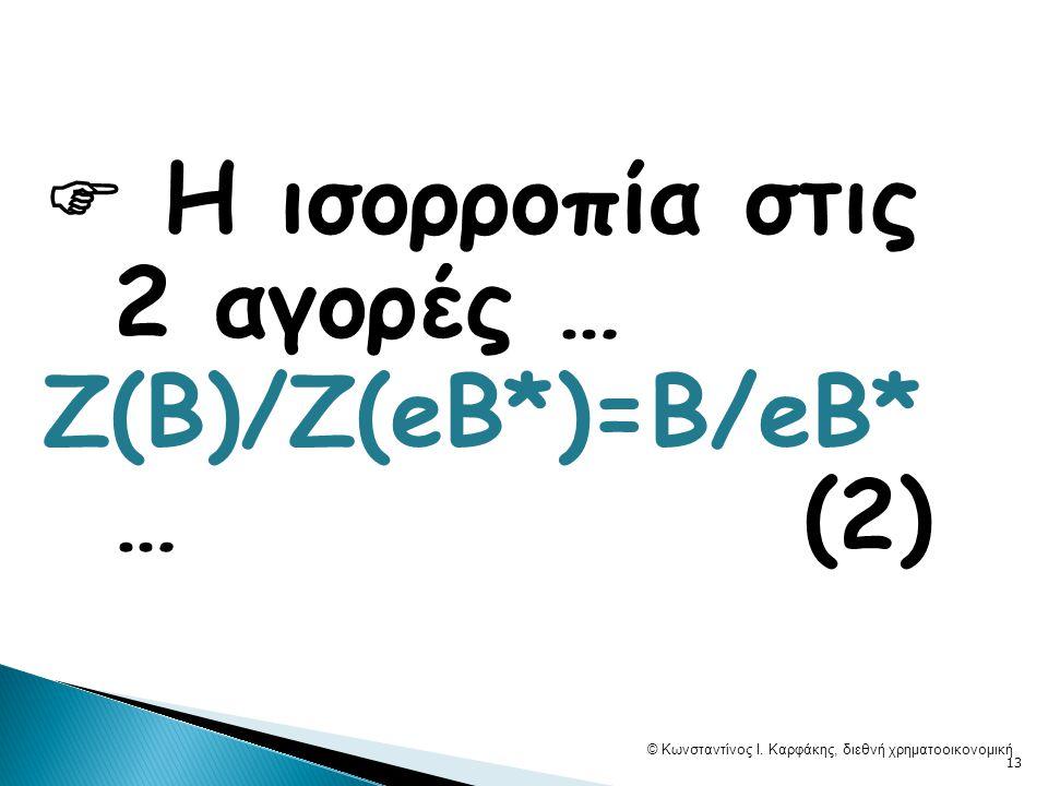  Η ισορροπία στις 2 αγορές … Ζ(Β)/Ζ(eB*)=Β/eB* … (2) © Κωνσταντίνος Ι.