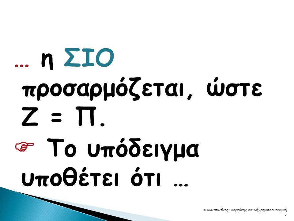 … η ΣΙΟ προσαρμόζεται, ώστε Ζ = Π.  Το υπόδειγμα υποθέτει ότι … © Κωνσταντίνος Ι.