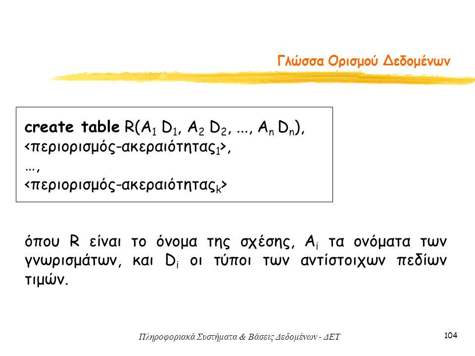 Πληροφοριακά Συστήματα & Βάσεις Δεδομένων - ΔΕΤ 104 Γλώσσα Ορισμού Δεδομένων create table R(A 1 D 1, A 2 D 2,..., A n D n ),, …, όπου R είναι το όνομα της σχέσης, A i τα ονόματα των γνωρισμάτων, και D i οι τύποι των αντίστοιχων πεδίων τιμών.