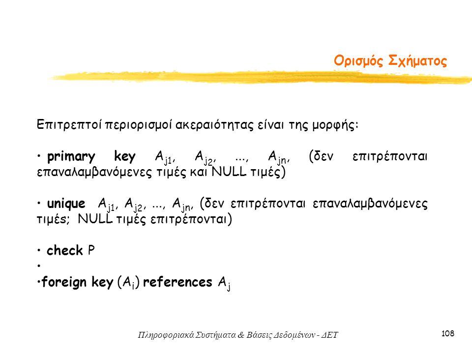 Πληροφοριακά Συστήματα & Βάσεις Δεδομένων - ΔΕΤ 108 Ορισμός Σχήματος Επιτρεπτοί περιορισμοί ακεραιότητας είναι της μορφής: primary key A j 1, A j 2,..., A j n, (δεν επιτρέπονται επαναλαμβανόμενες τιμές και NULL τιμές) unique A j 1, A j 2,..., A j n, (δεν επιτρέπονται επαναλαμβανόμενες τιμέs; NULL τιμές επιτρέπονται) check P foreign key (A i ) references A j
