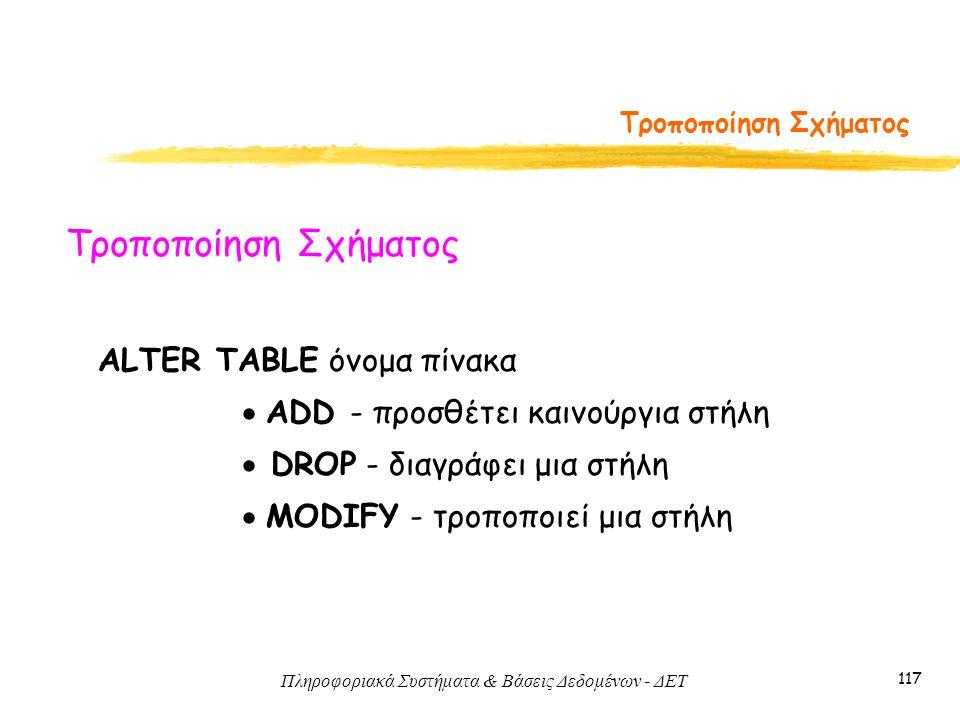 Πληροφοριακά Συστήματα & Βάσεις Δεδομένων - ΔΕΤ 117 Τροποποίηση Σχήματος ALTER TABLE όνομα πίνακα  ADD - προσθέτει καινούργια στήλη  DROP - διαγράφει μια στήλη  MODIFY - τροποποιεί μια στήλη