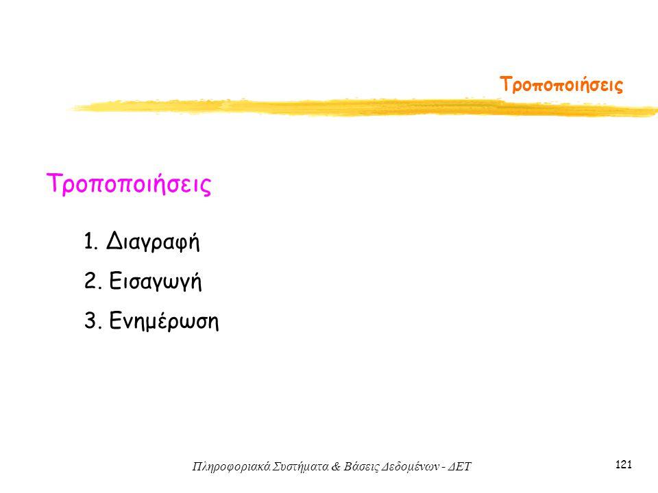Πληροφοριακά Συστήματα & Βάσεις Δεδομένων - ΔΕΤ 121 Τροποποιήσεις 1.