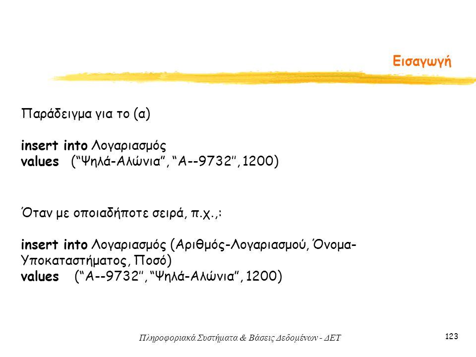 Πληροφοριακά Συστήματα & Βάσεις Δεδομένων - ΔΕΤ 123 Εισαγωγή Παράδειγμα για το (α) insert into Λογαριασμός values ( Ψηλά-Αλώνια , A--9732'', 1200) Όταν με οποιαδήποτε σειρά, π.χ.,: insert into Λογαριασμός (Αριθμός-Λογαριασμού, Όνομα- Υποκαταστήματος, Ποσό) values ( A--9732'', Ψηλά-Αλώνια , 1200)