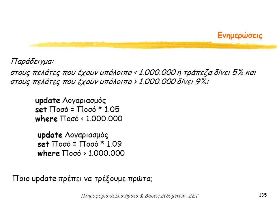 Πληροφοριακά Συστήματα & Βάσεις Δεδομένων - ΔΕΤ 135 Ενημερώσεις Παράδειγμα: στους πελάτες που έχουν υπόλοιπο 1.000.000 δίνει 9%: update Λογαριασμός set Ποσό = Ποσό * 1.05 where Ποσό < 1.000.000 update Λογαριασμός set Ποσό = Ποσό * 1.09 where Ποσό > 1.000.000 Ποιο update πρέπει να τρέξουμε πρώτα;