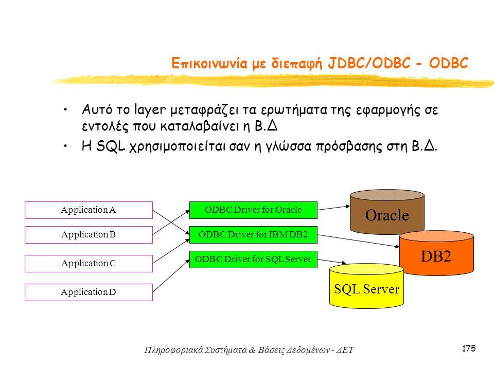 Πληροφοριακά Συστήματα & Βάσεις Δεδομένων - ΔΕΤ 175 Eπικοινωνία με διεπαφή JDBC/ODBC - ODBC Αυτό το layer μεταφράζει τα ερωτήματα της εφαρμογής σε εντολές που καταλαβαίνει η Β.Δ Η SQL χρησιμοποιείται σαν η γλώσσα πρόσβασης στη Β.Δ.
