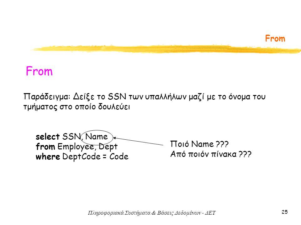 Πληροφοριακά Συστήματα & Βάσεις Δεδομένων - ΔΕΤ 25 From Παράδειγμα: Δείξε το SSN των υπαλλήλων μαζί με το όνομα του τμήματος στο οποίο δουλεύει select SSN, Name from Employee, Dept where DeptCode = Code Ποιό Name .