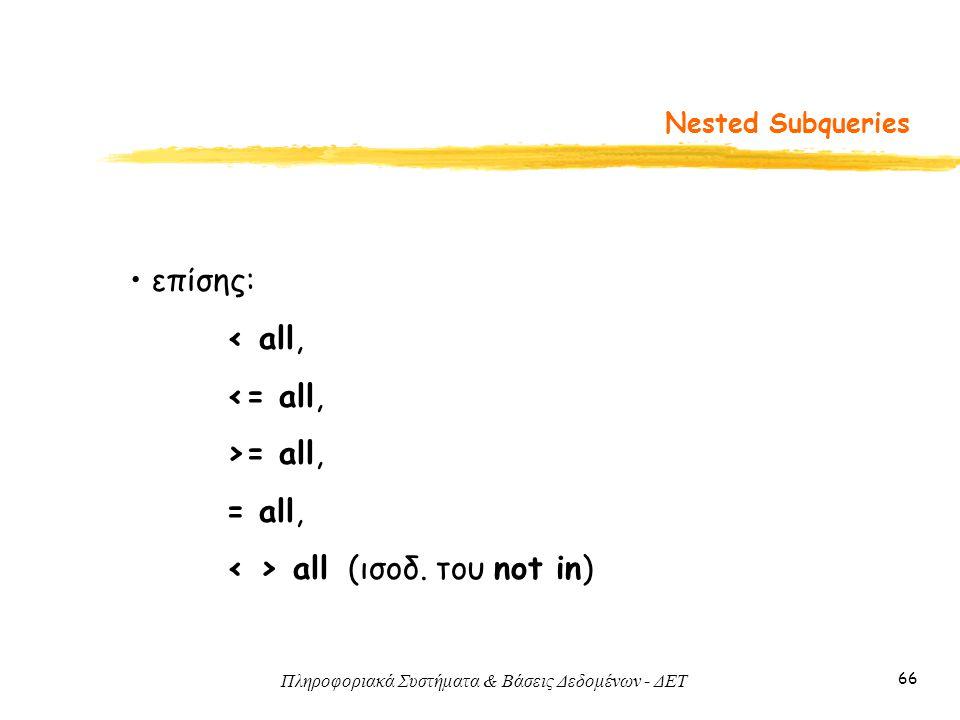 Πληροφοριακά Συστήματα & Βάσεις Δεδομένων - ΔΕΤ 66 Nested Subqueries επίσης: < all, <= all, >= all, = all, all (ισοδ.