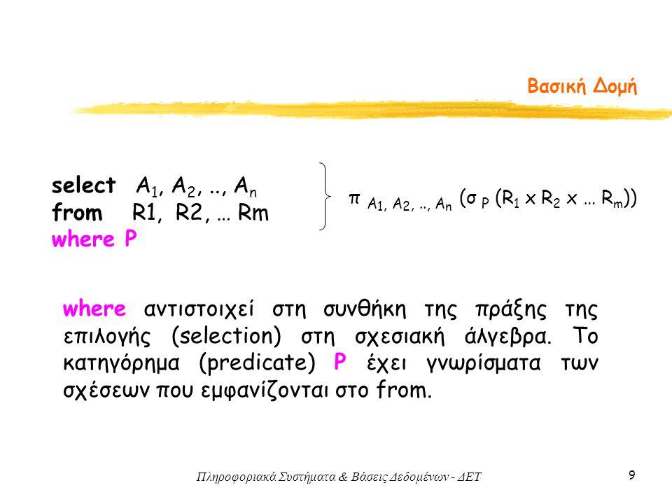 Πληροφοριακά Συστήματα & Βάσεις Δεδομένων - ΔΕΤ 9 Βασική Δομή select Α 1, Α 2,.., Α n from R1, R2, … Rm where P π A 1, A 2,.., A n (σ P (R 1 x R 2 x … R m )) where αντιστοιχεί στη συνθήκη της πράξης της επιλογής (selection) στη σχεσιακή άλγεβρα.