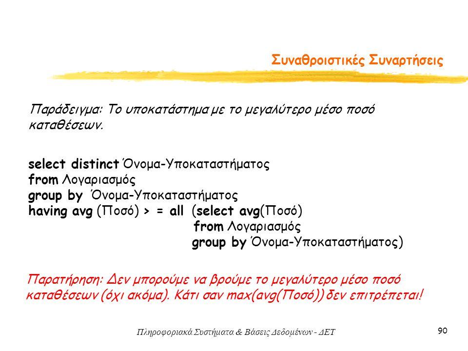 Πληροφοριακά Συστήματα & Βάσεις Δεδομένων - ΔΕΤ 90 Συναθροιστικές Συναρτήσεις Παράδειγμα: Το υποκατάστημα με το μεγαλύτερο μέσο ποσό καταθέσεων.