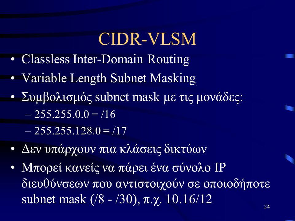 24 CIDR-VLSM Classless Inter-Domain Routing Variable Length Subnet Masking Συμβολισμός subnet mask με τις μονάδες: –255.255.0.0 = /16 –255.255.128.0 = /17 Δεν υπάρχουν πια κλάσεις δικτύων Μπορεί κανείς να πάρει ένα σύνολο ΙΡ διευθύνσεων που αντιστοιχούν σε οποιοδήποτε subnet mask (/8 - /30), π.χ.