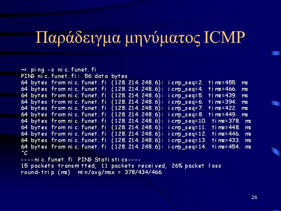 26 Παράδειγμα μηνύματος ICMP