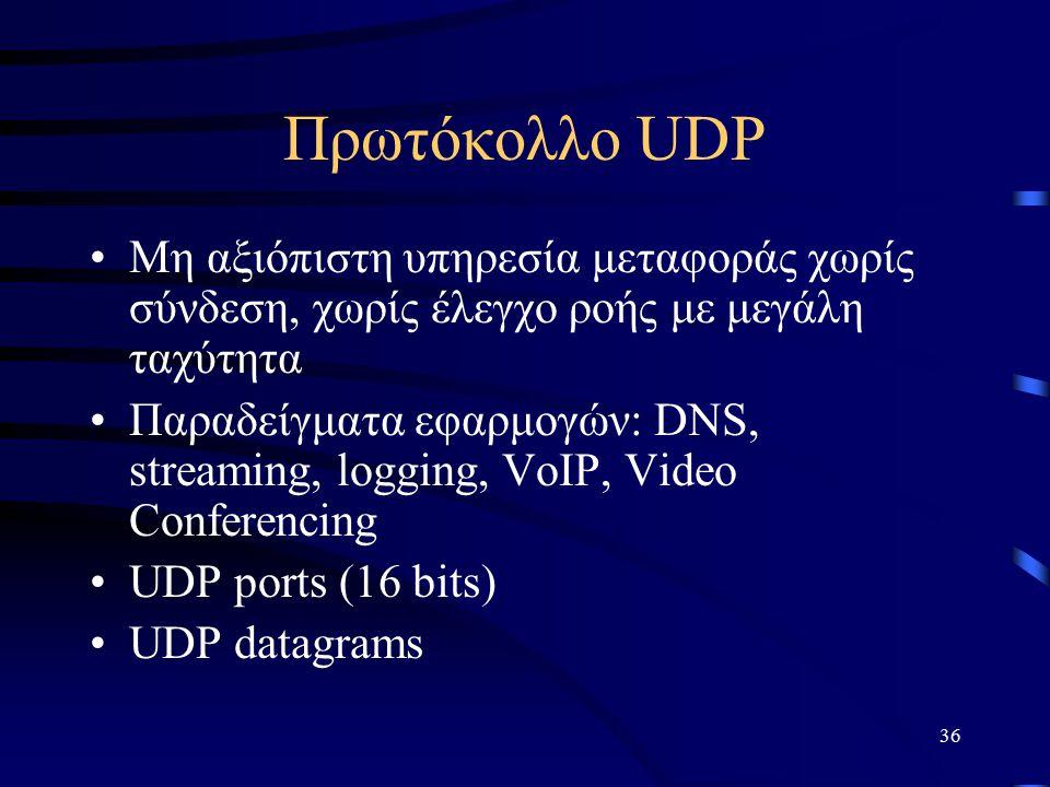 36 Πρωτόκολλο UDP Μη αξιόπιστη υπηρεσία μεταφοράς χωρίς σύνδεση, χωρίς έλεγχο ροής με μεγάλη ταχύτητα Παραδείγματα εφαρμογών: DNS, streaming, logging, VoIP, Video Conferencing UDP ports (16 bits) UDP datagrams
