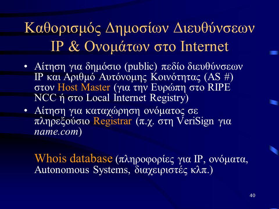 40 Καθορισμός Δημοσίων Διευθύνσεων IP & Ονομάτων στο Internet Αίτηση για δημόσιο (public) πεδίο διευθύνσεων IP και Αριθμό Αυτόνομης Κοινότητας (AS #) στον Host Master (για την Ευρώπη στο RIPE NCC ή στο Local Internet Registry) Αίτηση για καταχώρηση ονόματος σε πληρεξούσιο Registrar (π.χ.