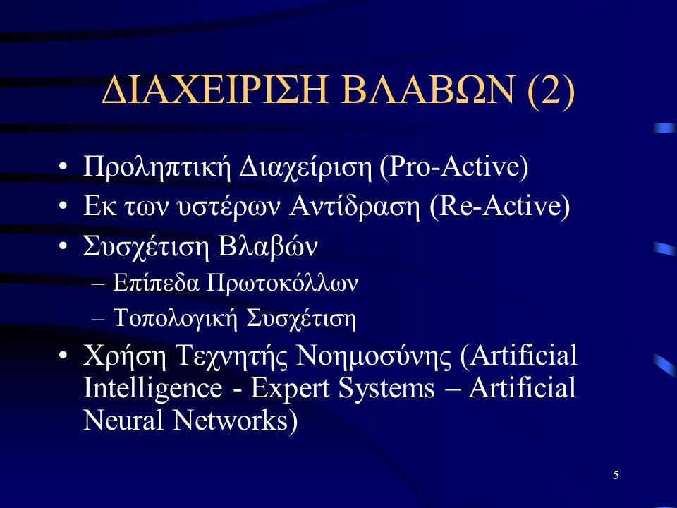 5 ΔΙΑΧΕΙΡΙΣΗ ΒΛΑΒΩΝ (2) Προληπτική Διαχείριση (Pro-Active) Εκ των υστέρων Αντίδραση (Re-Active) Συσχέτιση Βλαβών –Επίπεδα Πρωτοκόλλων –Τοπολογική Συσχέτιση Χρήση Τεχνητής Νοημοσύνης (Artificial Intelligence - Expert Systems – Artificial Neural Networks)