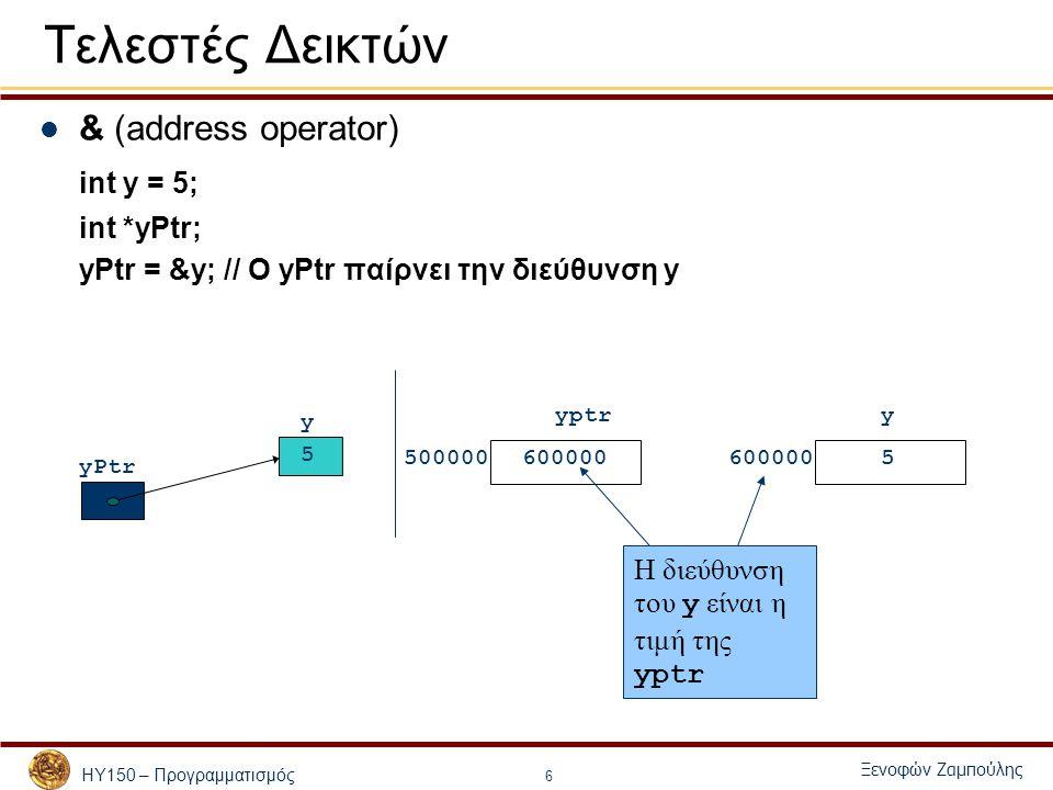 ΗΥ150 – Προγραμματισμός Ξενοφών Ζαμπούλης 7 Τελεστές Δεικτών * (indirection/dereferencing operator) int y = 5; int *yPtr; yPtr = &y; *yPtr = *yPtr * 2; – Μπορώ να αλλάζω την τιμή των μεταβλητών με τη βοήθεια δεικτών – Η τιμή του y γίνεται ίση με 10 – Η μεταβλητή y αλλάζει τιμή, χωρίς στον κώδικα να φαίνεται αυτό άμεσα σε μια εντολή που εμφανίζει την y.