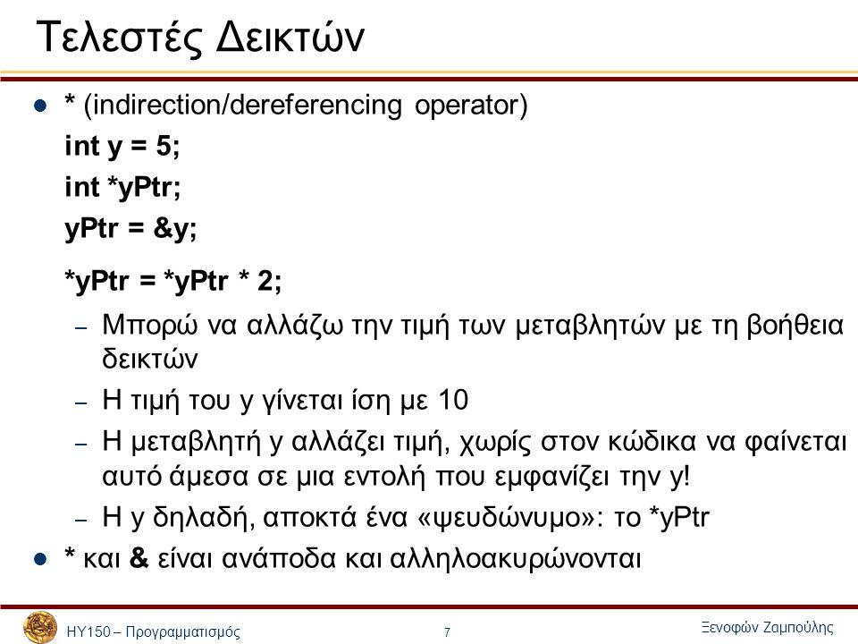 ΗΥ150 – Προγραμματισμός Ξενοφών Ζαμπούλης 8 Ανάθεση δεικτών Ένας δείκτης μπορεί να ανατεθεί σε άλλο δείκτη ίδιου τύπου: int a = 4; int * p; p = &a; int * q = p; Η εντολή int * q = p; ορίζει το q ως δείκτη σε int και του δίνει αρχική τιμή το p.