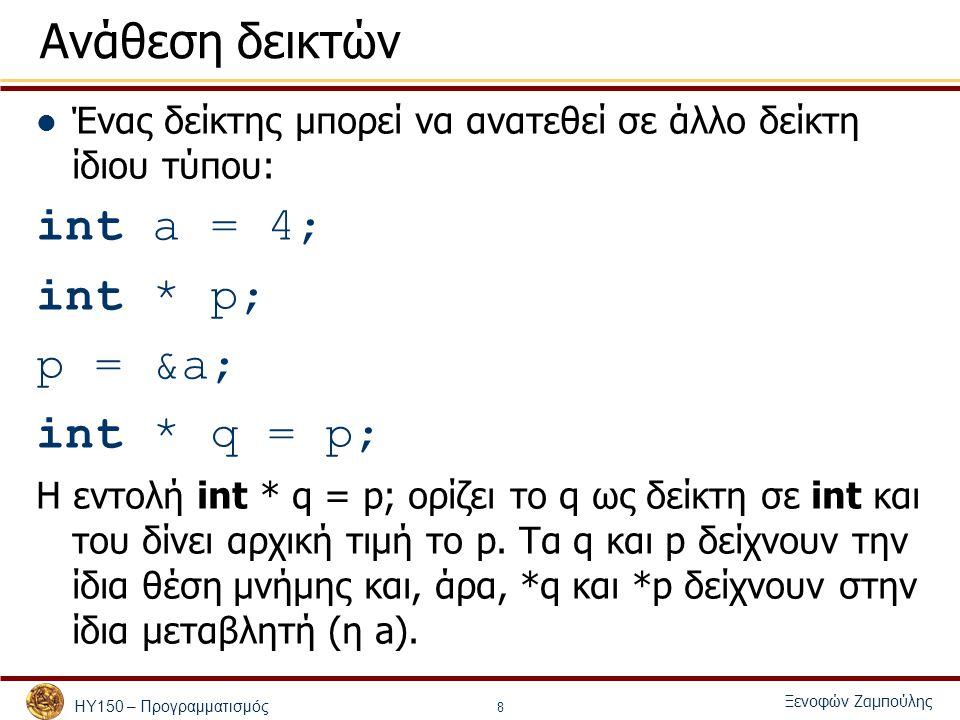 ΗΥ150 – ΠρογραμματισμόςΞενοφών Ζαμπούλης 1 2 3#include 4#include 5#include 6 7void shuffle( int [][ 13 ] ); 8void deal( const int [][ 13 ], const char *[], const char *[] ); 9 10int main() 11{ 12 const char *suit[ 4 ] = 13 { Hearts , Diamonds , Clubs , Spades }; 14 const char *face[ 13 ] = 15 { Ace , Deuce , Three , Four , 16 Five , Six , Seven , Eight , 17 Nine , Ten , Jack , Queen , King }; 18 int deck[ 4 ][ 13 ] = { 0 }; 19 20 srand( time( 0 ) ); 21 22 shuffle( deck ); 23 deal( deck, face, suit ); 24 25 return 0; 26} 27 28void shuffle( int wDeck[][ 13 ] ) 29{ 30 int row, column, card; 31 32 for ( card = 1; card <= 52; card++ ) {