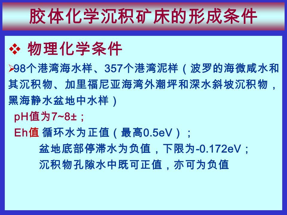 物理化学条件  98 个港湾海水样、 357 个港湾泥样(波罗的海微咸水和 其沉积物、加里福尼亚海湾外潮坪和深水斜坡沉积物, 黑海静水盆地中水样) pH 值为 7~8± ; Eh 值 循环水为正值(最高 0.5eV ); 盆地底部停滞水为负值,下限为 -0.172eV ; 沉积物孔隙水中既可正值,亦可为负值 胶体化学沉积矿床的形成条件