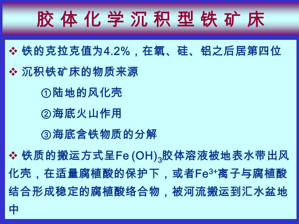 胶 体 化 学 沉 积 型 铁 矿 床胶 体 化 学 沉 积 型 铁 矿 床  铁的克拉克值为 4.2% ,在氧、硅、铝之后居第四位  沉积铁矿床的物质来源 ①陆地的风化壳 ②海底火山作用 ③海底含铁物质的分解  铁质的搬运方式呈 Fe (OH) 3 胶体溶液被地表水带出风 化壳,在适量腐植酸的保护下,或者 Fe 3+ 离子与腐植酸 结合形成稳定的腐植酸络合物,被河流搬运到汇水盆地 中