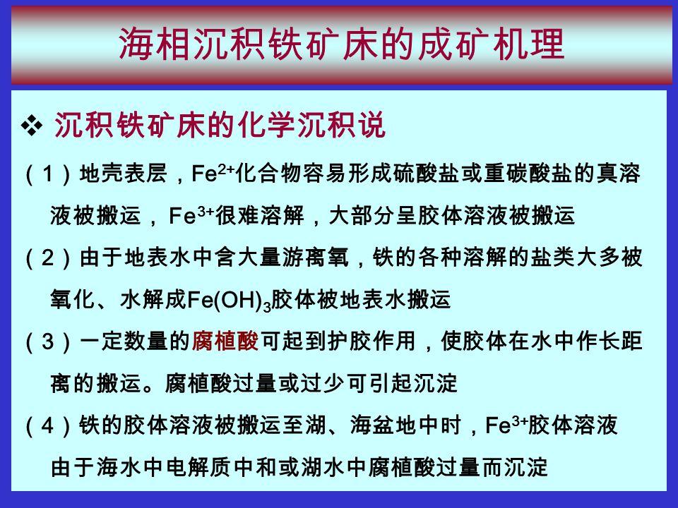 海相沉积铁矿床的成矿机理  沉积铁矿床的化学沉积说 ( 1 )地壳表层, Fe 2+ 化合物容易形成硫酸盐或重碳酸盐的真溶 液被搬运, Fe 3+ 很难溶解,大部分呈胶体溶液被搬运 ( 2 )由于地表水中含大量游离氧,铁的各种溶解的盐类大多被 氧化、水解成 Fe(OH) 3 胶体被地表水搬运 ( 3 )一定数量的腐植酸可起到护胶作用,使胶体在水中作长距 离的搬运。腐植酸过量或过少可引起沉淀 ( 4 )铁的胶体溶液被搬运至湖、海盆地中时, Fe 3+ 胶体溶液 由于海水中电解质中和或湖水中腐植酸过量而沉淀