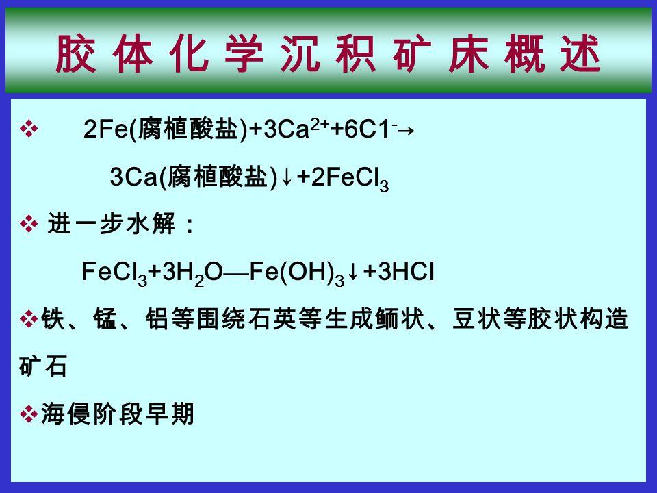 2Fe( 腐植酸盐 )+3Ca 2+ +6C1 - → 3Ca( 腐植酸盐 )↓+2FeCl 3  进一步水解: FeCl 3 +3H 2 O — Fe(OH) 3 ↓+3HCI  铁、锰、铝等围绕石英等生成鲕状、豆状等胶状构造 矿石  海侵阶段早期 胶 体 化 学 沉 积 矿 床 概 述