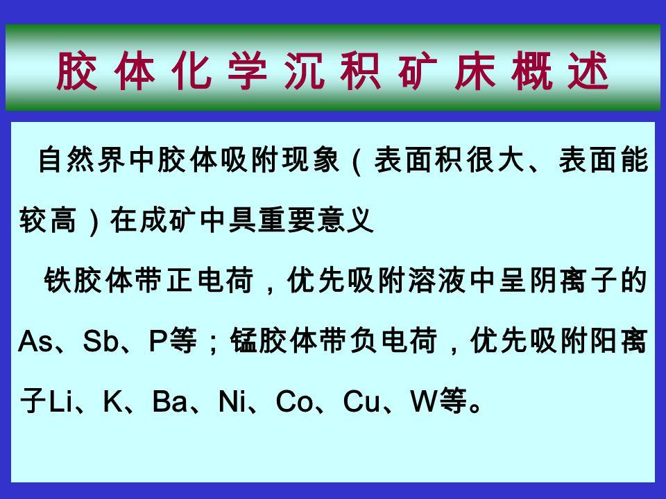 自然界中胶体吸附现象(表面积很大、表面能 较高)在成矿中具重要意义 铁胶体带正电荷,优先吸附溶液中呈阴离子的 As 、 Sb 、 P 等;锰胶体带负电荷,优先吸附阳离 子 Li 、 K 、 Ba 、 Ni 、 Co 、 Cu 、 W 等。 胶 体 化 学 沉 积 矿 床 概 述胶 体 化 学 沉 积 矿 床 概 述