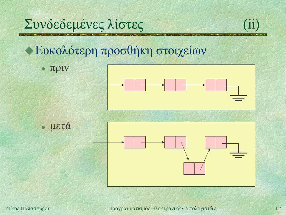 12Νίκος Παπασπύρου Προγραμματισμός Ηλεκτρονικών Υπολογιστών Συνδεδεμένες λίστες(ii) u Ευκολότερη προσθήκη στοιχείων l πριν l μετά