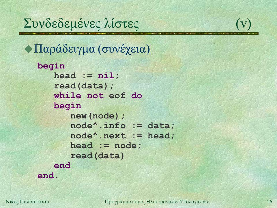16Νίκος Παπασπύρου Προγραμματισμός Ηλεκτρονικών Υπολογιστών Συνδεδεμένες λίστες(v) u Παράδειγμα (συνέχεια) begin head := nil; read(data); while not eof do begin new(node); node^.info := data; node^.next := head; head := node; read(data) end end.
