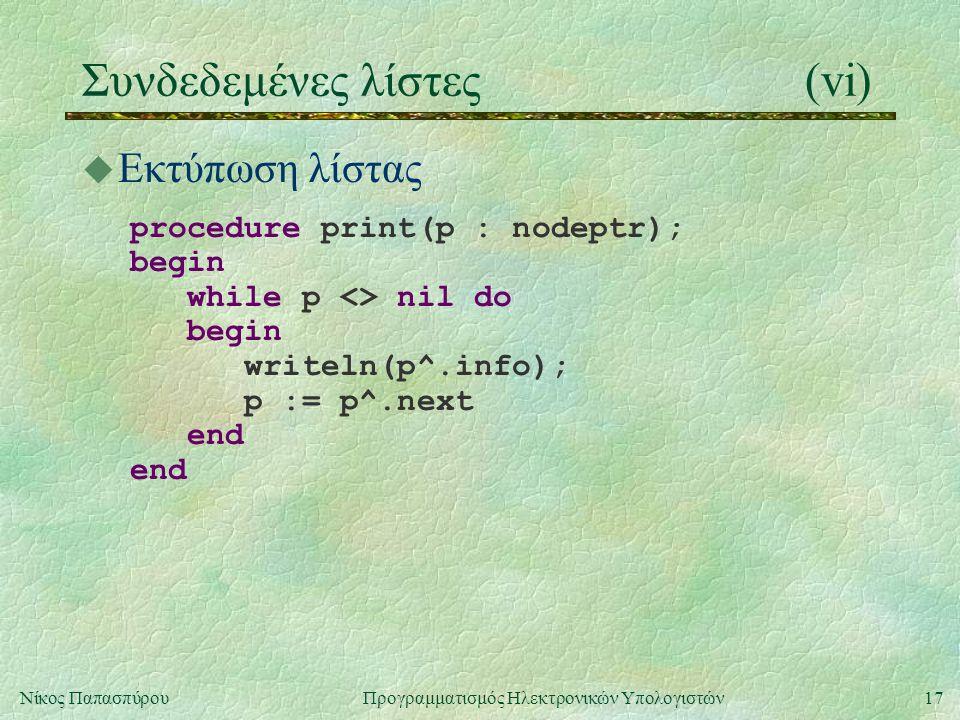 17Νίκος Παπασπύρου Προγραμματισμός Ηλεκτρονικών Υπολογιστών Συνδεδεμένες λίστες(vi) u Εκτύπωση λίστας procedure print(p : nodeptr); begin while p <> n
