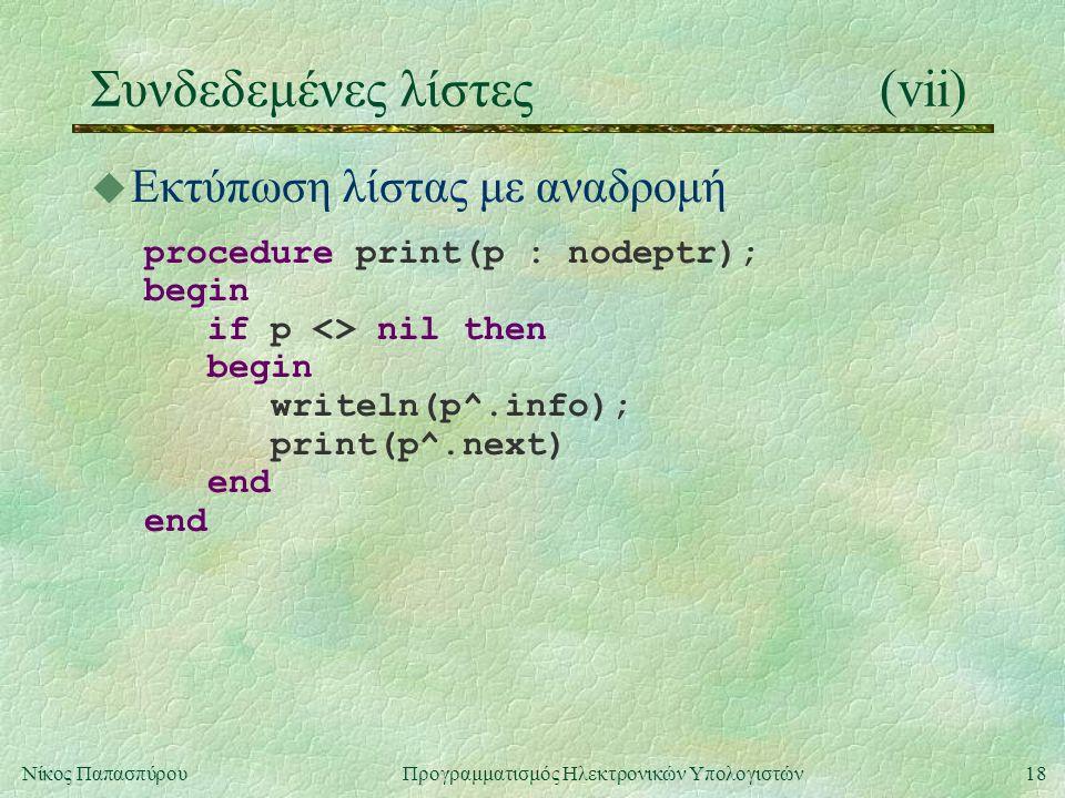 18Νίκος Παπασπύρου Προγραμματισμός Ηλεκτρονικών Υπολογιστών Συνδεδεμένες λίστες(vii) u Εκτύπωση λίστας με αναδρομή procedure print(p : nodeptr); begin if p <> nil then begin writeln(p^.info); print(p^.next) end